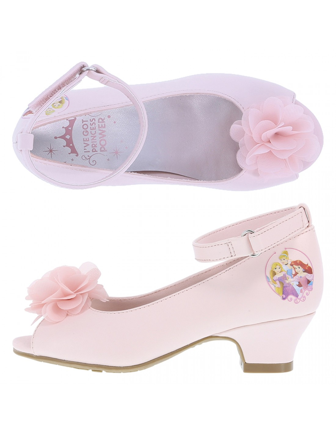 Disney Princess Peep Toe Girls Toddler Flower Heels Payless