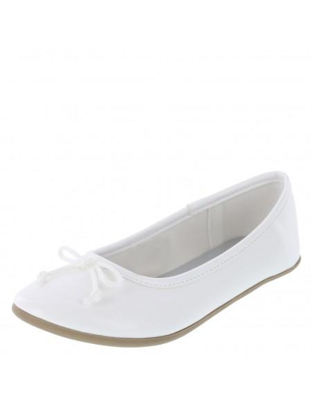 Girls' Fae Stringtie Flat - White