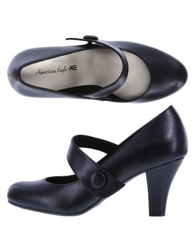 Zapatillas de correa con puntera redonda Kim para mujer - Negro